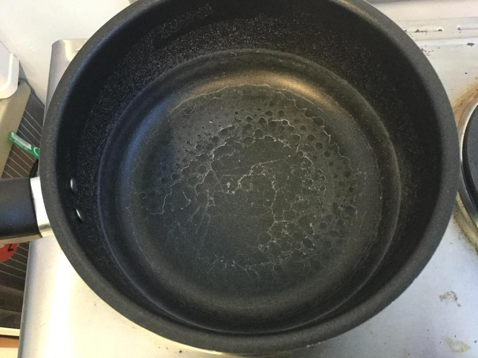 The water on the stove evaporated completely!
