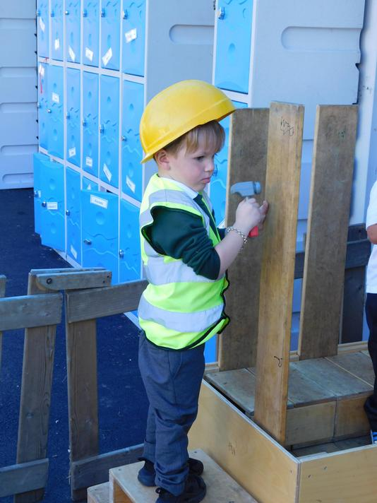 Helping construct the castle