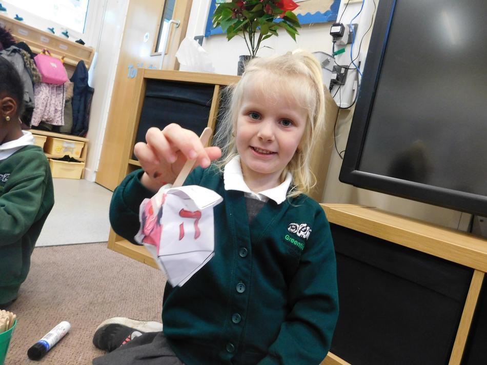 Maisie-Jane adapted her dreidel design.