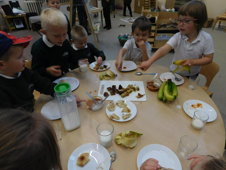 The children sampled some Indian food.