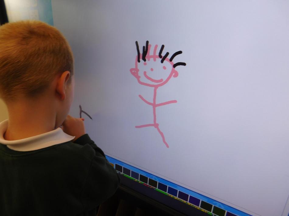 Alex has drawn a self-portrait.