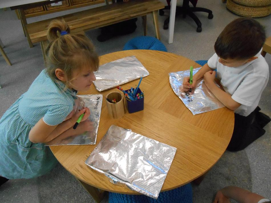 Writing numbers on foil