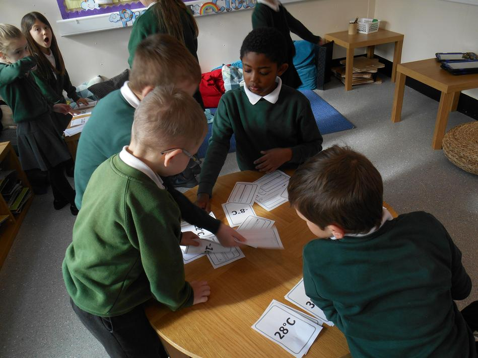 The children matched the thermometer to the correct reading in degrees Celsius.