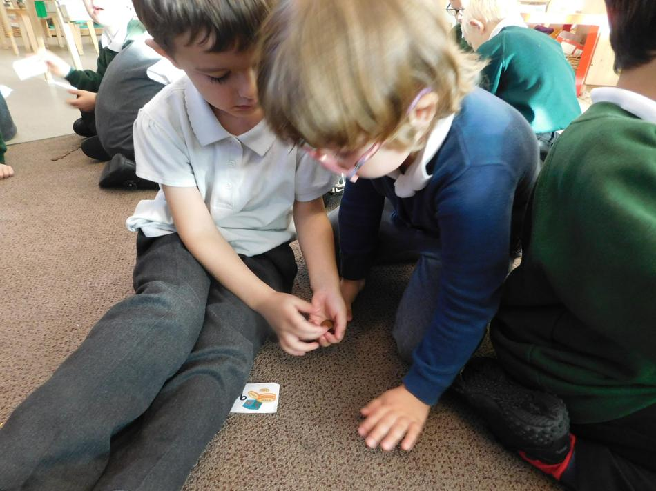 Monica and James working together counting money.