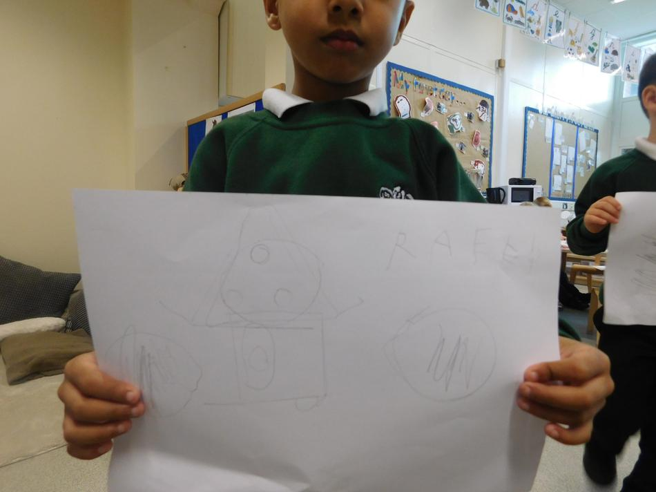Raeed drew a house using 2D shapes.