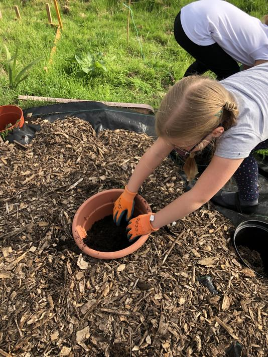Filling the Pot rockery with compost and soil.