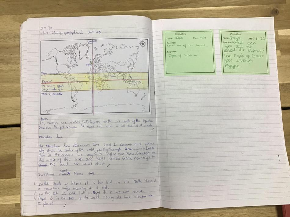 We identified where Nepal was on a map in relation to the equator and the tropics.