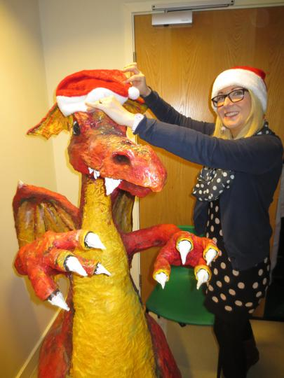 Mrs Cowdell gets Dragon into the festive spirit!