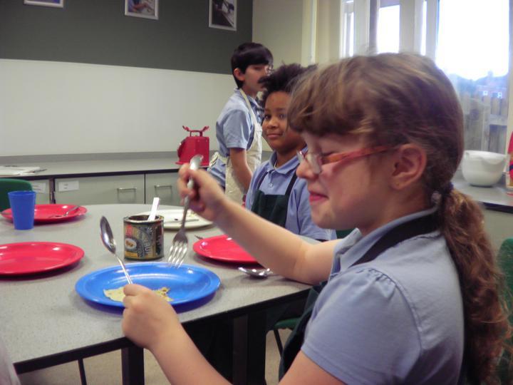 Holly Boultbee enjoying her pancake!