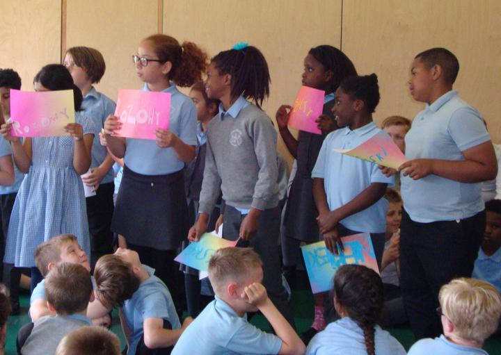 Class 4 sharing the colours in Polish.