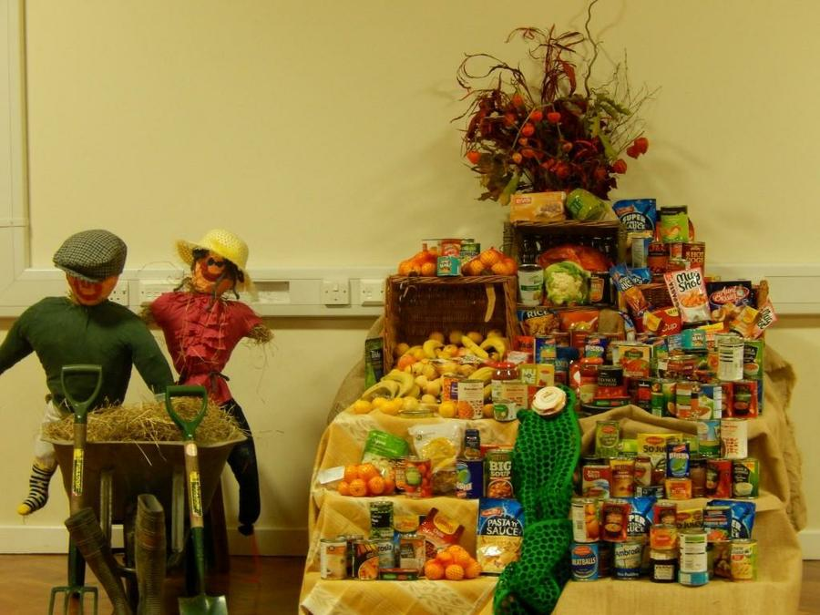 Harvest hampers made from children's donation