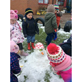 We made a snowman...well a little one!