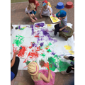 The children enjoyed outside painting