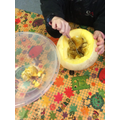 Pumpkin carving at Pre-school