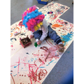 A colourful wig for some colourful artwork.