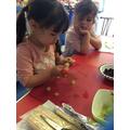 Making Caterpillar Fruit Skewers