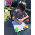 Isaac - spelling practice in the sun
