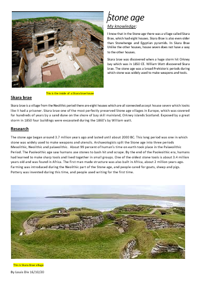 Louis's Skara Brae research!