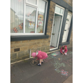 Decorating the pavement for VE Day