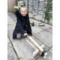 Addison made an amazing catapult with her Dad.