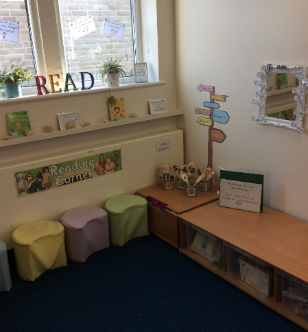 Reading Area- we can retell, read, predict, share and chill out.