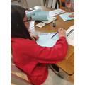 Megan working hard at her science