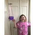 Mya has made a beautiful purse.
