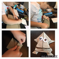 Ollie has been making an origami frog!