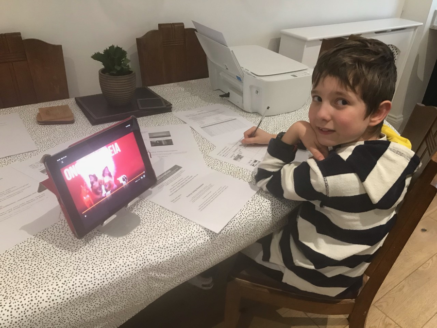 Dillon has been really dedicated to home learning so far!