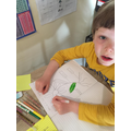 Oliver identifying the parts of a plant.
