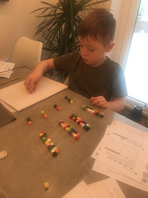 Lyle working hard at Maths