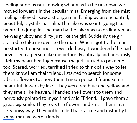 Lily's third paragraph for her amazing character description