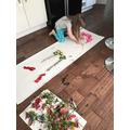 Poppy creating her Andy Goldsworthy art.