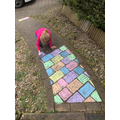 Grace has brightened up her path with chalks.