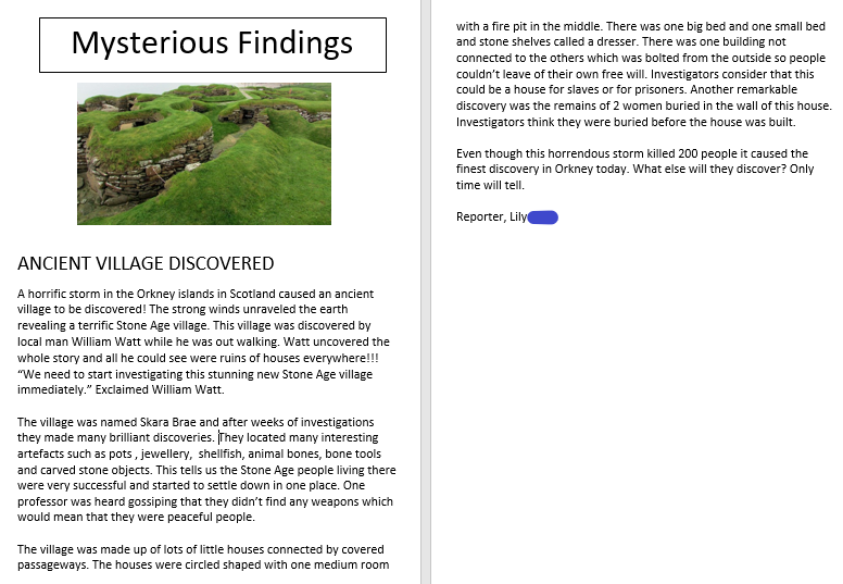 Lily's amazing Newspaper Article about the discovery of Skara Brae