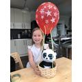 Panda had a fun ride in Poppy's hot air balloon!