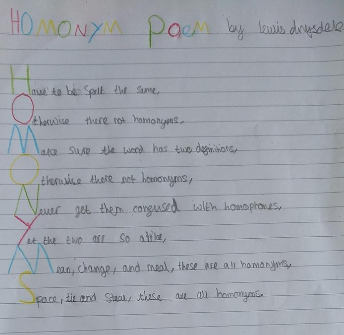 A fabulous poem explaining homonyms by Lewis