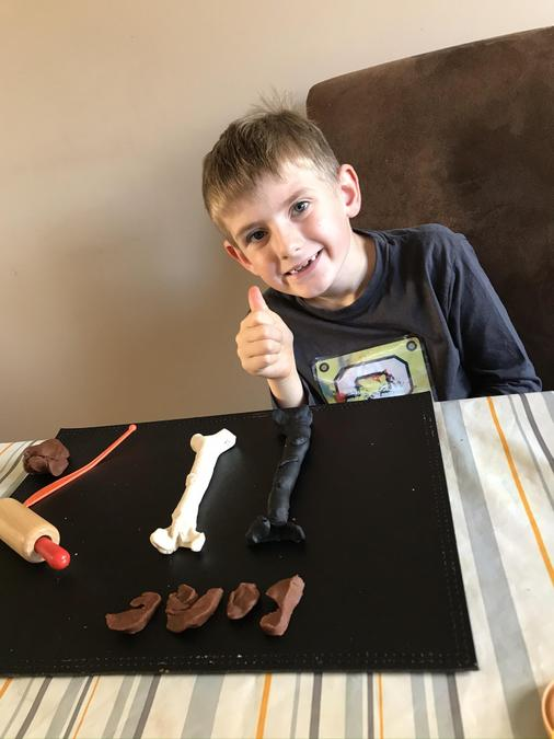 Tom made Stone Age bones from playdough