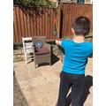 Archery practice for Ollie.
