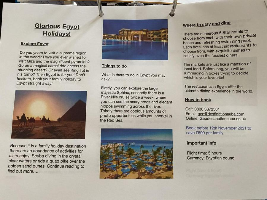 George's glorious holiday leaflet!