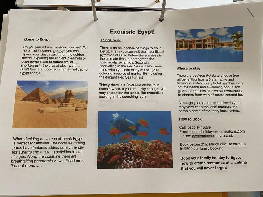 Sophie's fantastic holiday leaflet!