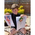 Harrison is making VE Day bunting.