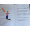 Max's super scarecrow description and drawing.