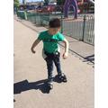 Oliver has taken up a new hobby- roller blading!