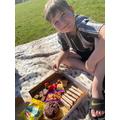 Harrison had a wonderful afternoon tea picnic.