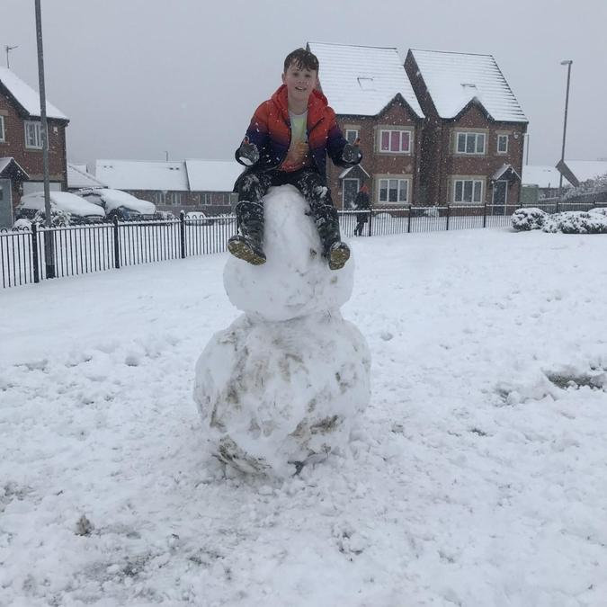 Luca's snowman is very strong!