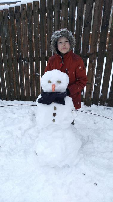 A super snowman with a carrot nose from Lewis!