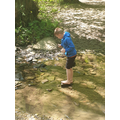 Archie wobbling on a stepping stone