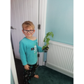 Isaac's sunflower is already growing.