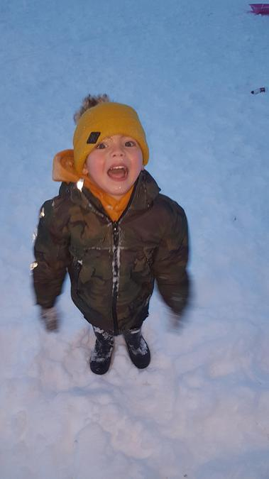 Charlie having fun in the snow!